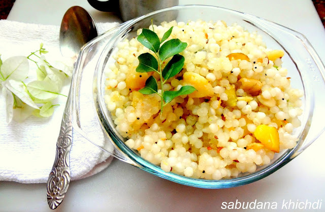Sabudana Khichdi (sago/Javarsi ) A mildly spiced dish with Tapioca pearls and cooked potatoes.