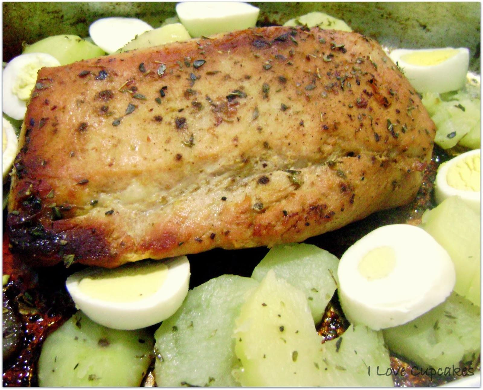 Lombo Suíno assado com batatas