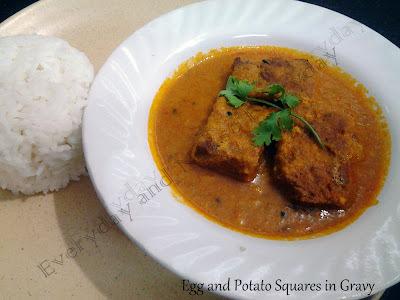 Egg and Potato Squares in Gravy / Dimer Dhokar Dalna