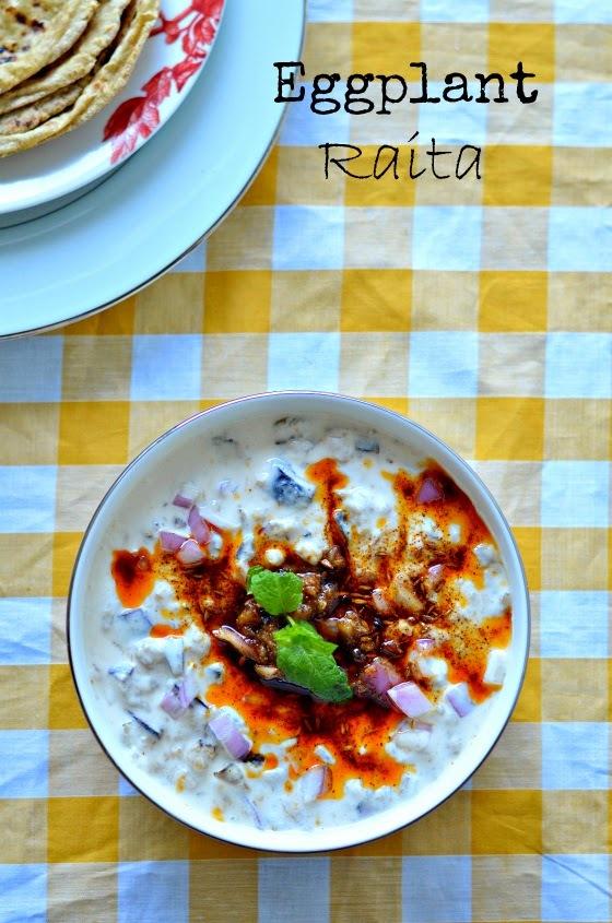 Baingan ka Raita :: Brinjal in curd raita :: Eggplant yogurt dip :: Aubergine with yoghurt