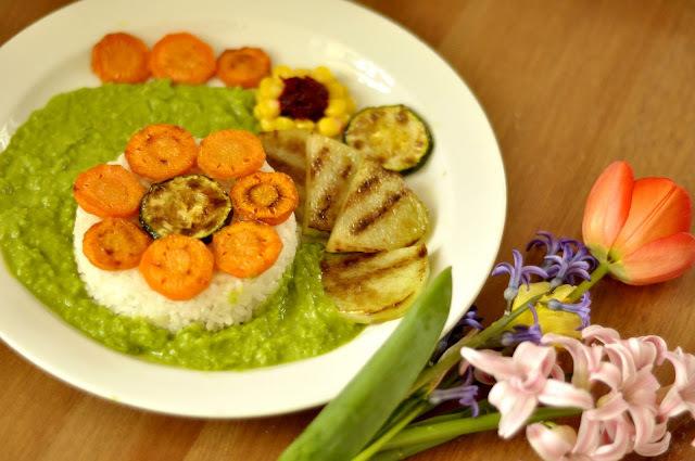 Grilovaná zelenina s hráškovým pyré
