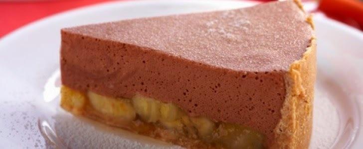 TORTA DE BANANA COM MUSSE DE CHOCOLATE