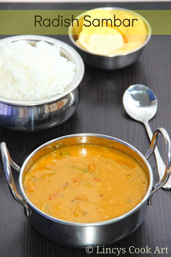 Radish Sambar/ Mullangi Sambar/ Single Vegetable Sambar