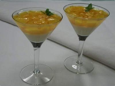 sobremesa de pessego com gelatina e leite condensado