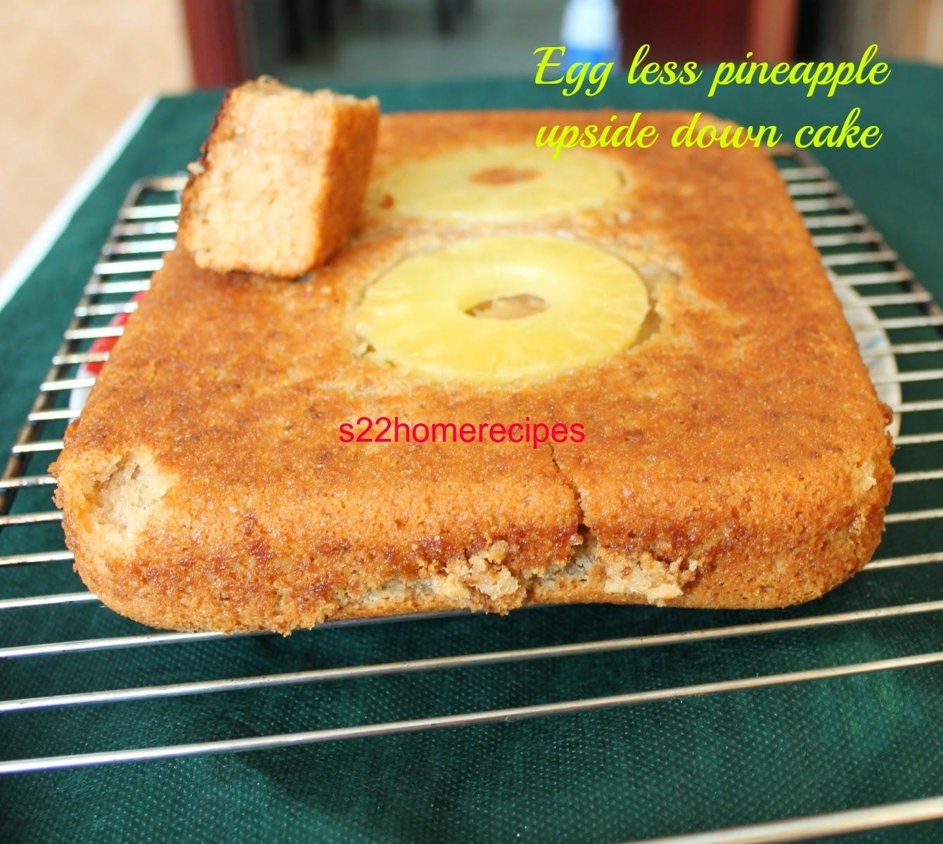 Egg less pineapple upside down cake