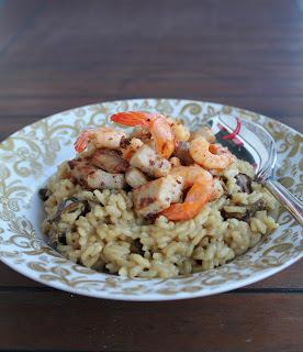 Lanýžové rizoto s mečounem a krevetkami