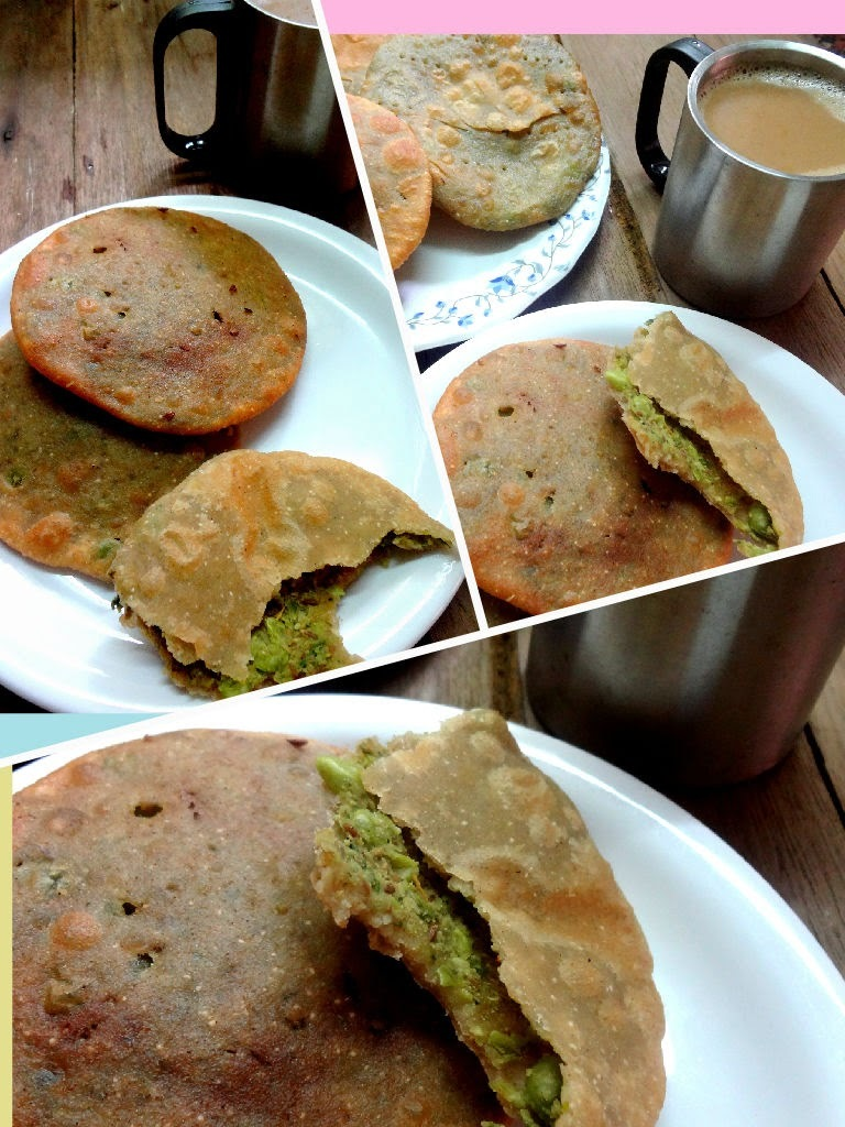 Green peas stuffed pooris