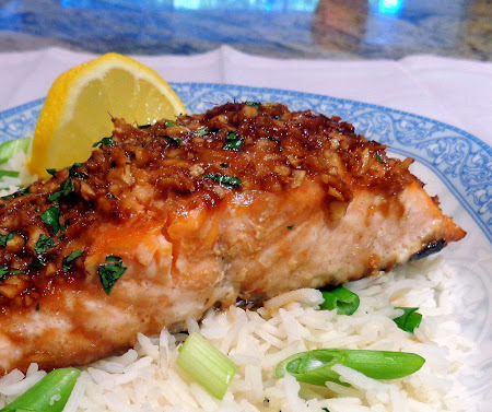 Table for Two - Asian-Style Baked Salmon with Scallion Rice