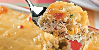 de arroz de forno com frango e pure de batata
