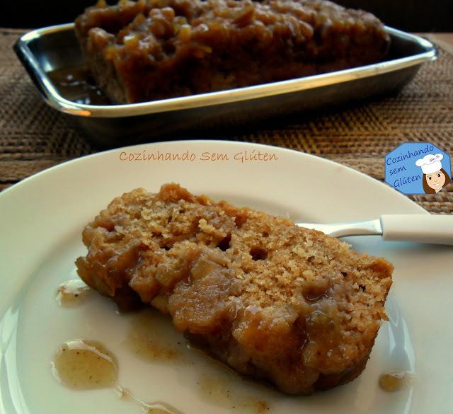 Bolo de maçã 2 com canela caramelado - livre de glúten e lactose