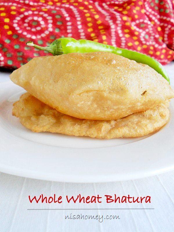 Bhatura Recipe / 100 % Whole Wheat Bhatura / Bhature