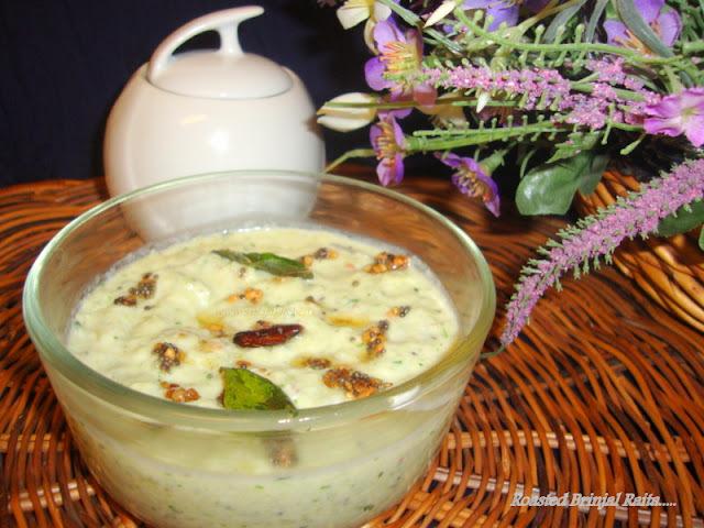 Brinjal Raita / Kathirikkai Thayir Pachadi / Baingan Ka Raita Recipe / Eggplant Raita Recipe / Roasted Brinjal Raita