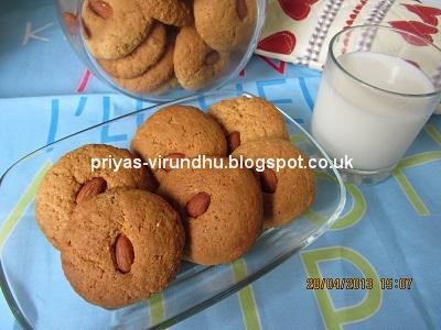 Almond Cookies/Badam Cookies [Eggless]