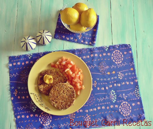 Hamburguesas de arroz integral, lentejas y calabaza