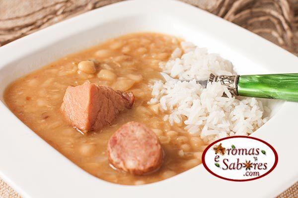 arroz temperado com lombo de porco defumado