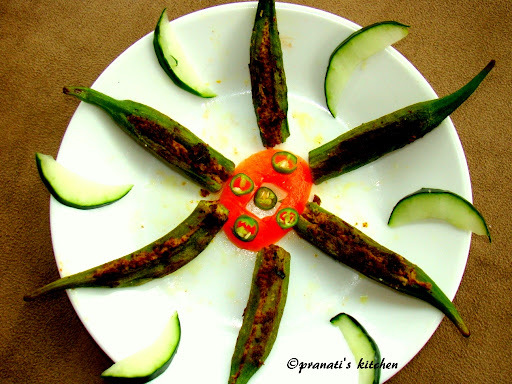 Gota Bhendi Masala (Stuffed okra using mustard paste odisha style)