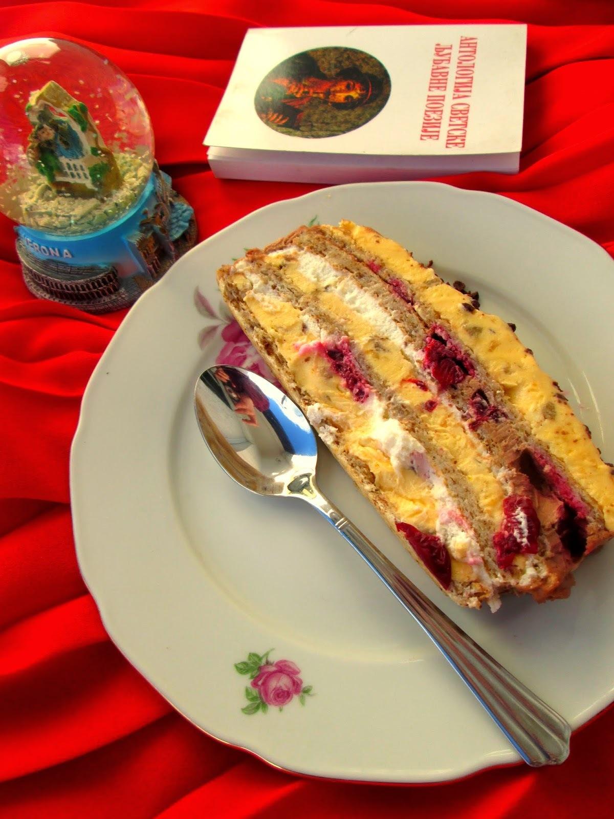 Kremasta lešnik torta sa višnjama