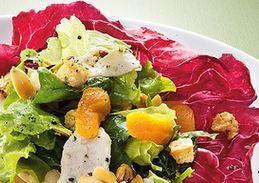 saladas com queijo gorgonzola com molho agridoce