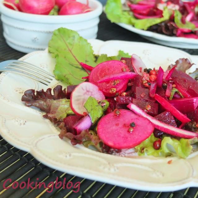Salada em tons de rosa