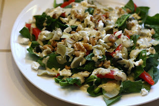 Mediterranean Salad with Hummus Pesto Dressing