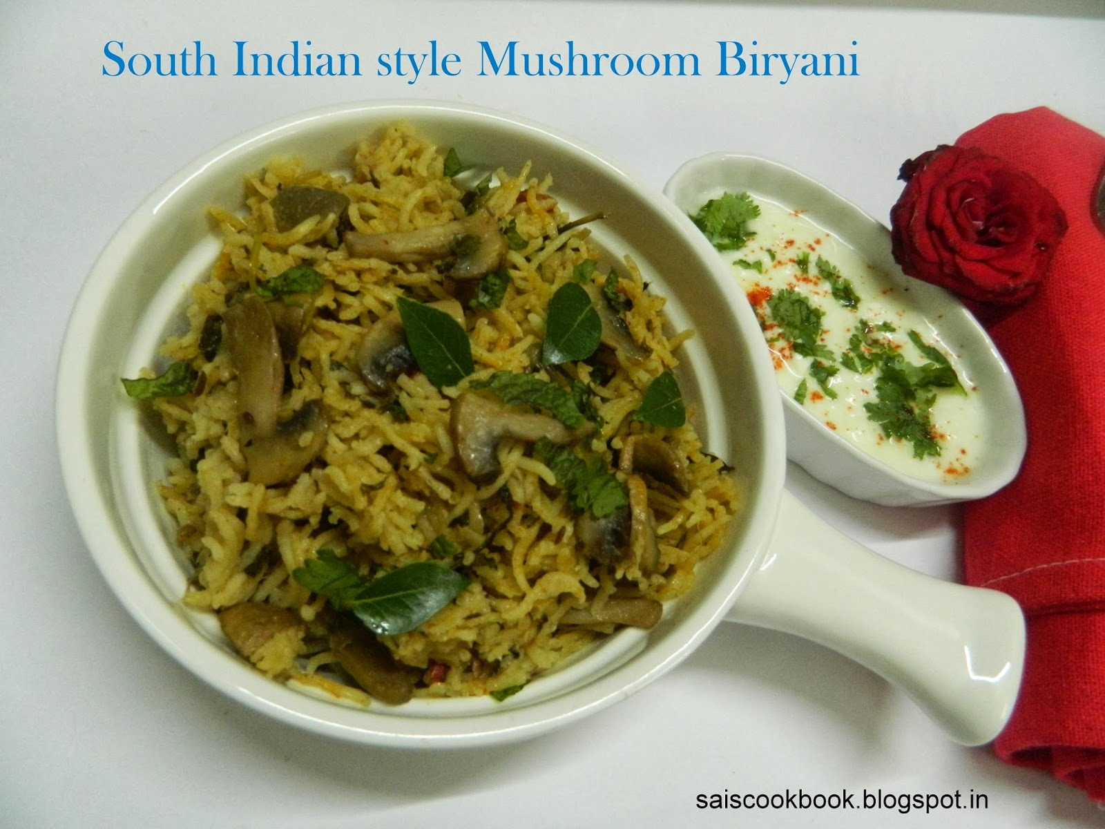 South Indian Style Mushroom Biryani