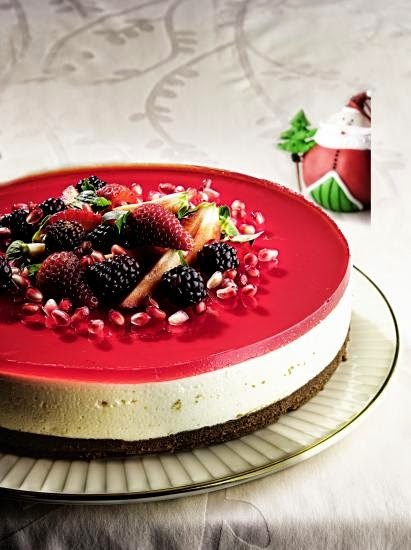 Sobremesa de Natal - Cheesecake de Limão com Frutas Vermelhas