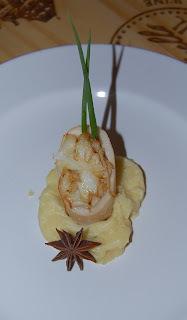 Palmito pupunha recheado com brandade de bacalhau