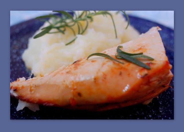 de peito de frango com pure de batata ao forno