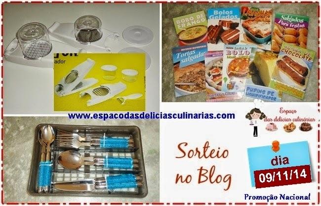 Sorteio no Blog: Cortador de legumes, faqueiro 16 peças, mini livrinhos de receitas