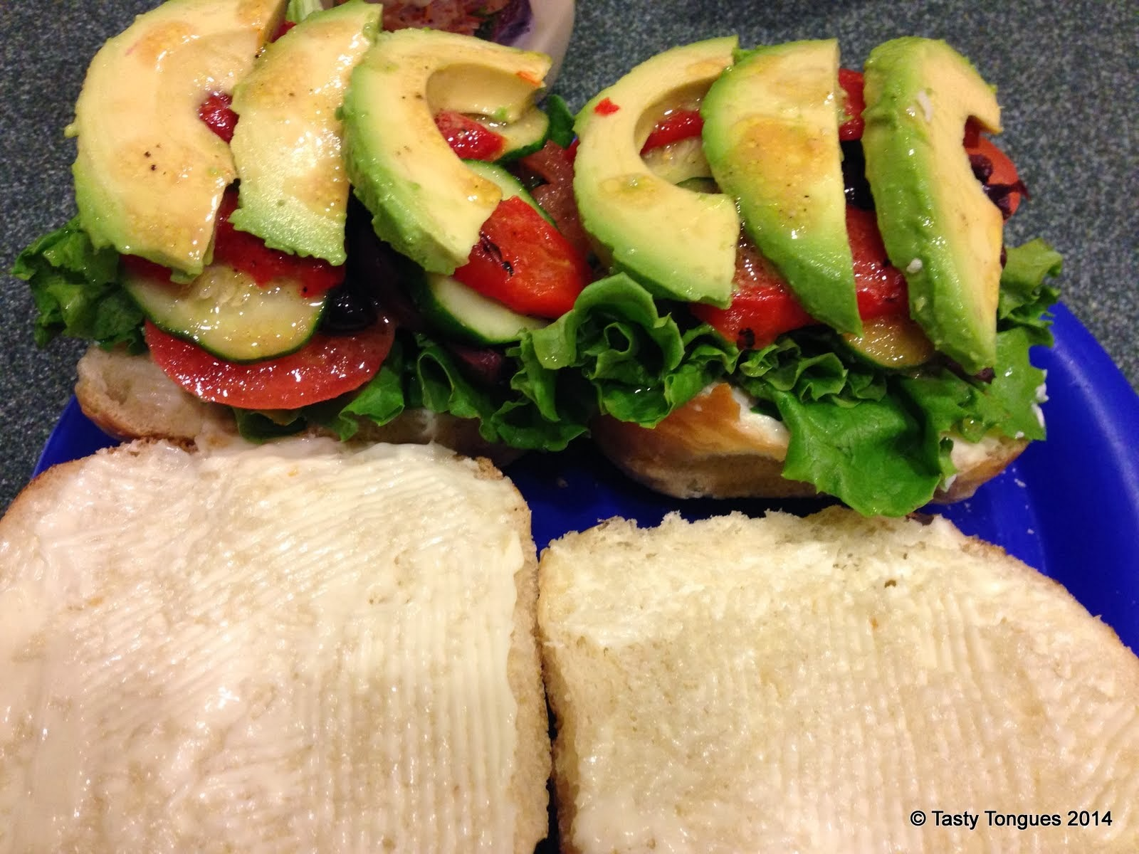 Mediterranean Veggies and Avocado on a Roll