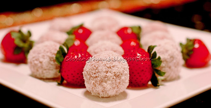 Strawberry Coconut Laddoo (Rolls)