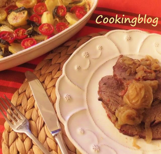 """Inspiração Italiana num assado de carne de vaca com cebola e batatas """"Arraganate"""""""