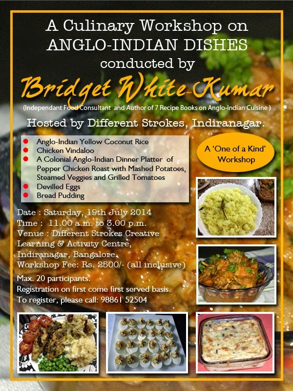 CULINARY WORKSHOP ON ANGLO-INDIAN DISHES IN BANGALORE - BRIDGET WHITE