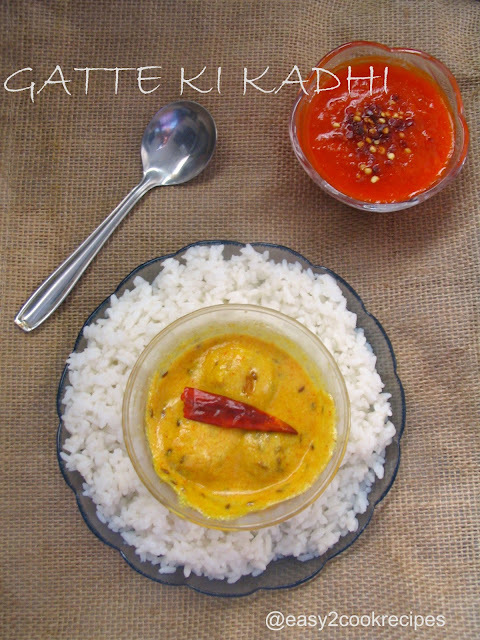 GATTE KI KADHI / MOONG DAL BALLS IN YOGURT SAUCE