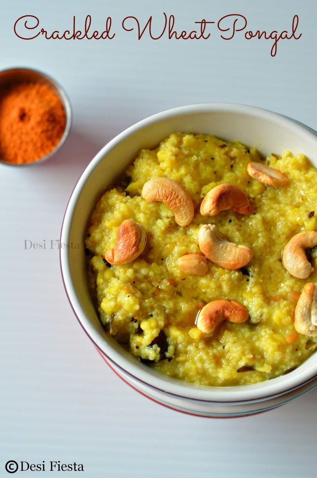 Godhumai Rava Pongal / Crackled Wheat Pongal