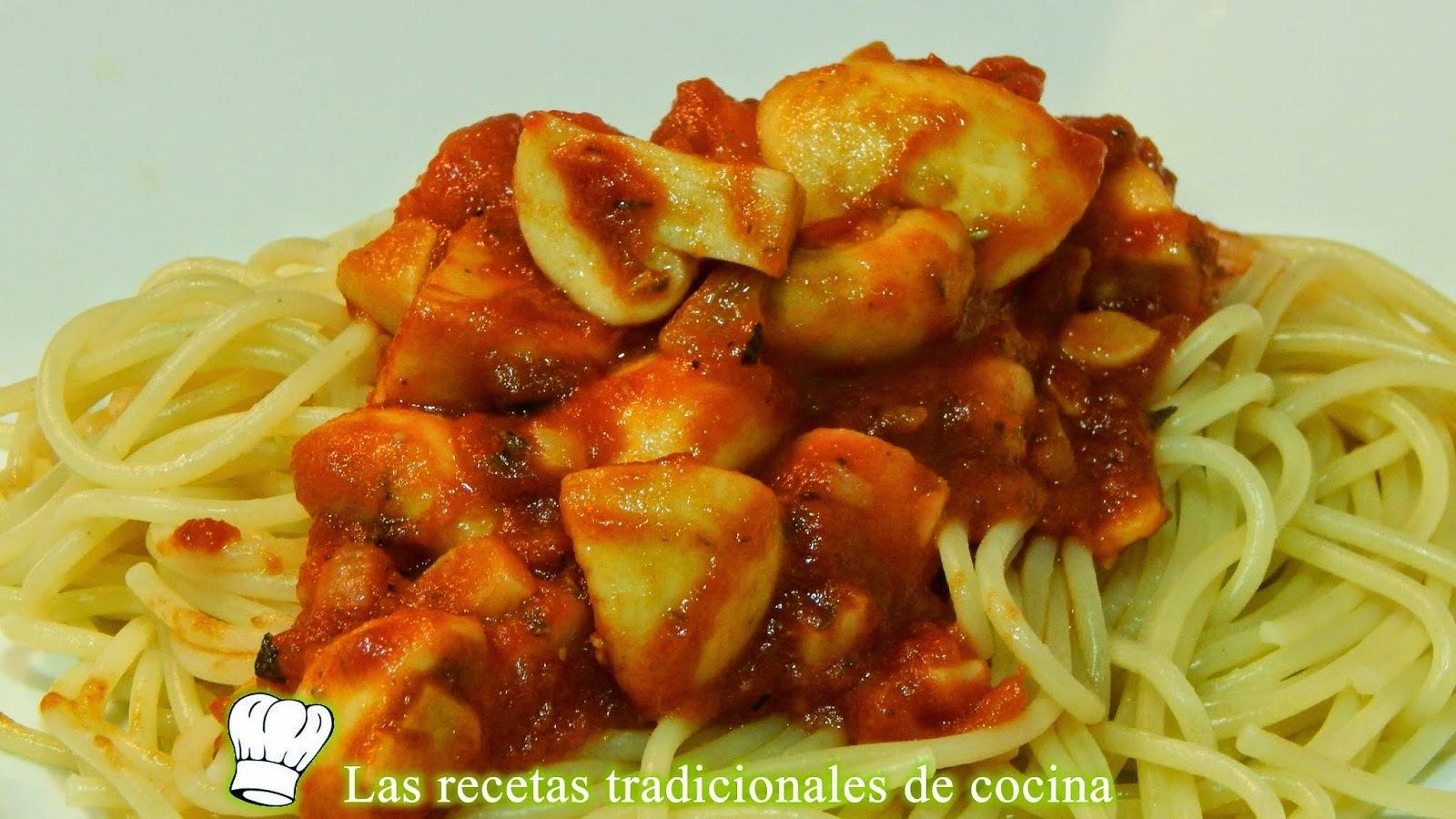 Receta de espaguetis con champiñones