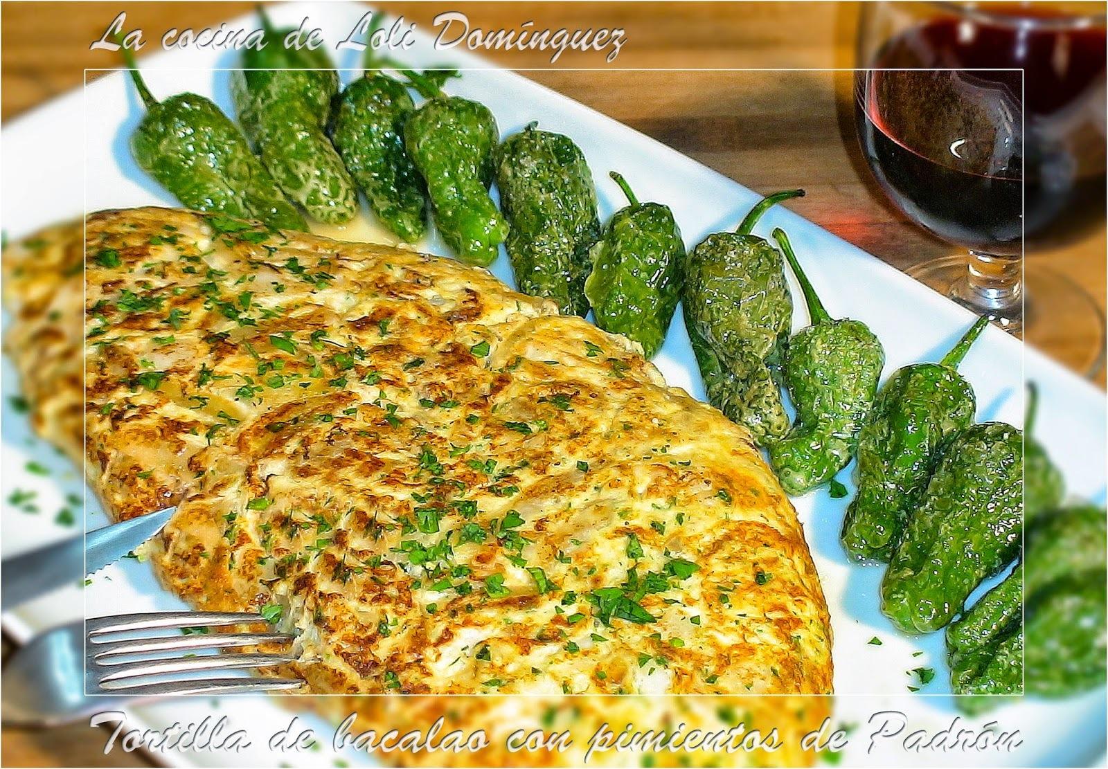 Tortilla de bacalao con pimientos de Padrón