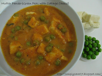 Mutter Paneer(Green Peas with Cottage Cheese)