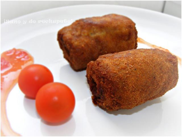 Milanesas enrolladas con mermelada de tomate