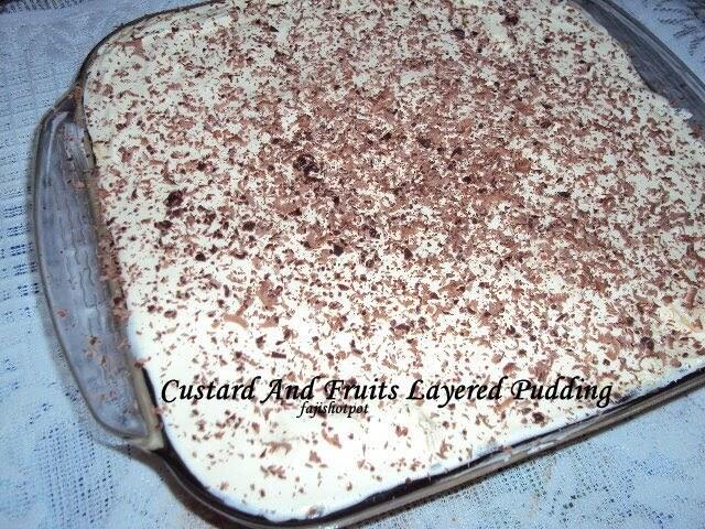Custard And Fruits Layered Pudding