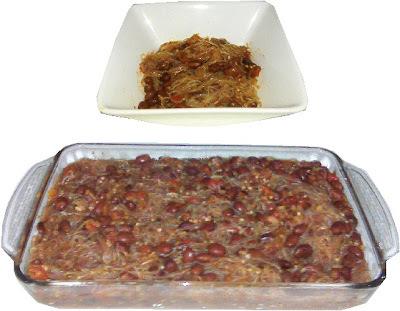 Fideos secos en salsa de  frijol