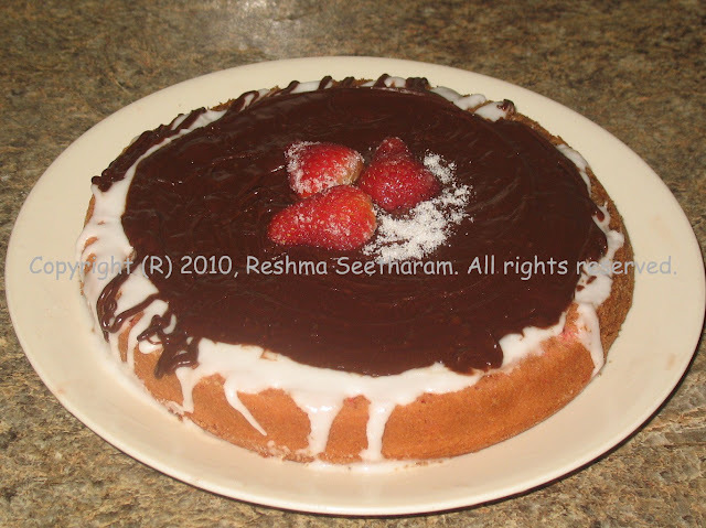 Eggless strawberry cake