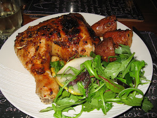 Grilled Portuguese Chicken with roasted kumaras and mediteranean rocket and mesclun salad with parmigiano, pear and red vine vinegar dressing