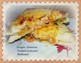 Croque monsieur saumon-poireaux