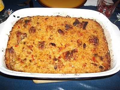 arroz de forno simples de carne seca