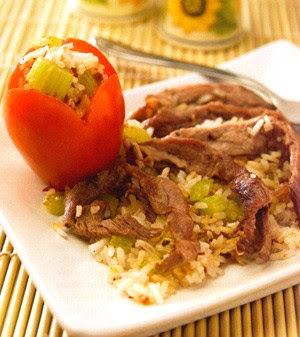 Fajitas de res con arroz