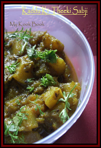 Kaddu Ki Theeki Sabji - Red Pumpkin in a Spicy Gravy