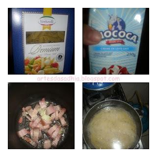 macarrão com Creme de Leite Mococa , Bacon e azeitonas com um toque de azeite