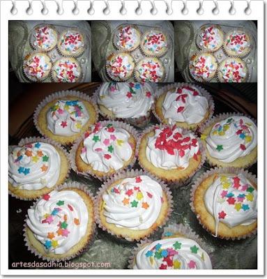 cobertura colorida para cupcake