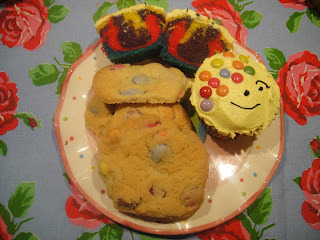 Rainbow Pudsey Cupcakes and Smarties Cookies for BBC Children in Need